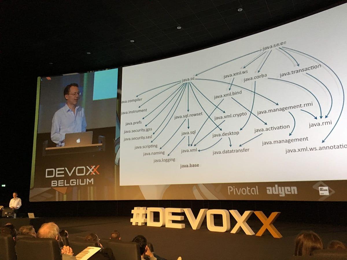 Mark Reinhold, Chief Java Architect, showing Java Module Graph at Devoxx.